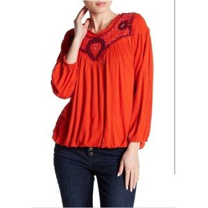 FREE PEOPLE Begonia embroidered knit top